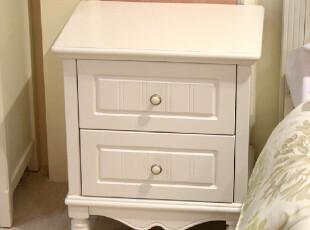 包邮 实木 韩式 欧式 白色田园 床头柜 简易储物收纳柜 双抽特价,收纳柜,