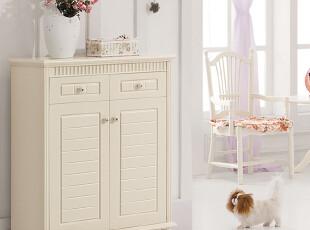 【方格诚品】韩式家具 田园式对门开实木鞋柜,收纳柜,