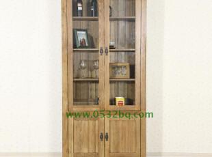 实木家具 厂家促销 外贸原单酒柜 白橡木书柜 书橱书架 玻璃书柜,收纳柜,