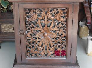 泰国进口家具柚木雕花床头柜65*50全实木矮柜子东南亚风格家具B,收纳柜,