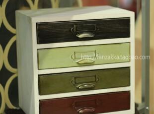 Fan's zakka杂货原木旧木制仿古铁皮抽屉收纳盒 收纳小柜(水洗白),收纳柜,