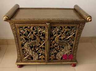 泰国家具木雕金孔雀鞋柜玄关柜85cm东南亚风格家具镂空孔雀柜A052,收纳柜,