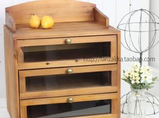 Fan's zakka杂货 原木三层拉手收纳柜 书柜置物柜 文件柜,收纳柜,