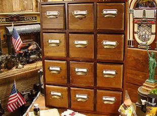 BAO ZAKKA 杂货 原木深茶色系列 标签拉手 12抽屉 收纳柜 3327,收纳柜,