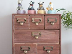 ZAKKA 做旧 复古 实木6格抽屉柜 收纳柜 杂物收纳整理柜,收纳柜,