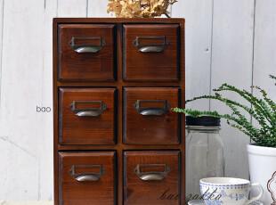 BAO ZAKKA 杂货 原木深茶色系列 标签拉手 4抽屉 收纳柜 3326,收纳柜,