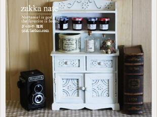 zakka杂货 超复古雕花做旧收纳柜 家居饰品 白色首饰盒 立柜,收纳柜,