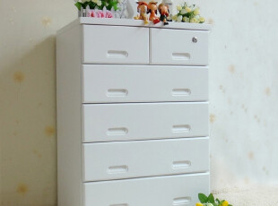 欧式田园外贸桐木实木多功能带锁衣柜 斗柜储物柜 收纳柜红色白色,收纳柜,
