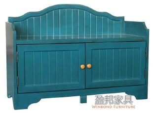 盈邦美居 地中海风格深蓝换鞋柜田园家具蓝色鞋柜仿古做旧SD-1069,收纳柜,