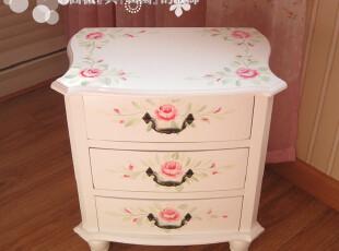 【田园风格家具】韩式家居 手绘玫瑰花三抽床头柜 地柜 新款特价,收纳柜,