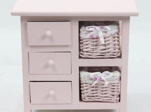 新品上市 田园宜家 粉色实木藤编床头柜 抽屉储物柜 收纳柜子,收纳柜,