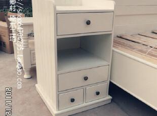 比邻乡村 地中海风格家具 地中海做旧床头柜 实木床头柜 电话桌,收纳柜,
