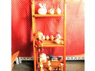 基本生活 收纳架 ZAKKA田园木质做旧花架置物架,收纳柜,