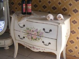 美式彩绘斗柜欧式储物柜实木收纳柜田园抽屉柜仿古白色斗橱储藏柜,收纳柜,