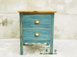 地中海风格床头柜 美式乡村风格 双抽屉床头柜 储物柜 实木家具,收纳柜,