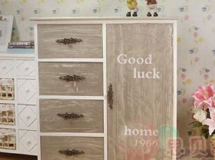 思贝美家 田园实木柜子 原单做旧多抽带门床头柜储物柜简约玄关柜,收纳柜,