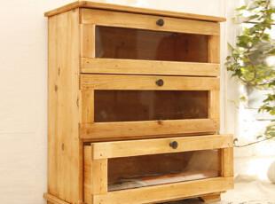 zakka 做旧木制床头小柜 收纳柜 床头收纳 杂物收纳 桌面收纳,收纳柜,