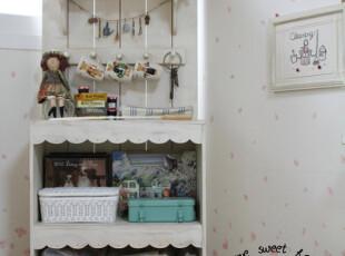 田园 地中海 实木餐边柜 玩偶世家 白色乡村餐边柜 书柜,收纳柜,
