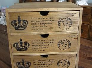 ZAAKA 实木 复古皇冠三抽屉柜子收纳柜收纳盒家庭装饰小家具,收纳柜,