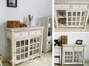 BAO ZAKKA 杂货 日单 原木古木 水洗白 双抽屉玻璃门柜 大餐边柜,收纳柜,