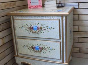 日式风格木质带抽屉床头柜手工彩绘 三格木制收藏柜 收纳柜客厅柜,收纳柜,