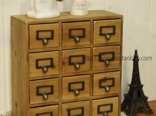 Fan's zakka杂货 原木旧木制铜扣十二格收纳抽屉小柜 牛鼻木柜,收纳柜,