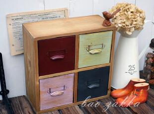 BAO ZAKKA 杂货 原木 仿古铁皮彩色 方形四抽屉收纳小柜,收纳柜,