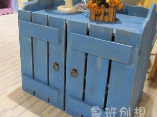 地中海 美式乡村风格鞋柜/栅栏鞋柜/美克美家实木鞋柜/做旧/实木,收纳柜,