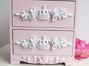 『韩国网站代购』精致皇冠浮雕玫瑰 甜美粉红小柜子,收纳柜,