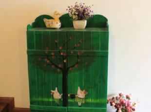 特价可定制 地中海鞋架 美式乡村鞋柜 手绘做旧储物柜 全实木家具,收纳柜,