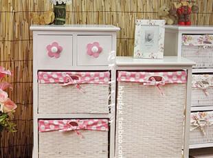 新款花朵粉色田园家具柜子 时尚简约高低柜 床头柜收纳柜 花架,收纳柜,
