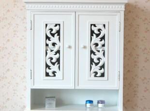 韩式白色壁柜 浴室柜 雕花壁挂柜 卫生间储物柜 置物架柜,收纳柜,