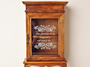 Zakka杂货 复古 做旧 欧式两层柜 实木玻璃柜 立柜 家居 空间大师,收纳柜,
