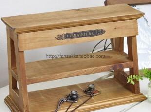 Fan's zakka杂货 原木旧木制丝印两层陈列架 置物收纳架,收纳柜,
