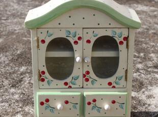 原木手工彩绘水果系列樱桃 可爱圆点复古小柜子 女生收纳柜瑕疵,收纳柜,