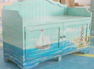 特价可定制 地中海帆船鞋柜 美式彩绘鞋架 欧式储物柜 实木家具,收纳柜,