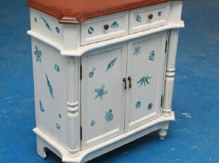 SD-1048海螺彩绘小号/鞋柜/地中海家具/边柜/盈邦家具,收纳柜,