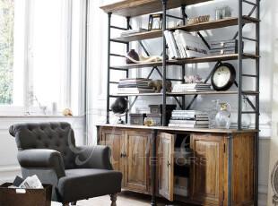 出口法国切斯特顿橡木四门铁架书柜现货,收纳柜,