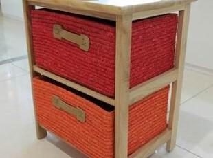 两抽杂物柜 麦草手工编织储物柜 时尚盛衣箱 斗柜 实木家具QDD10,收纳柜,