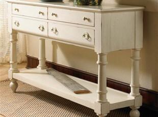 高水平定制FFDM-美式做旧实木玄关桌边桌沙发背桌客厅边桌,收纳柜,