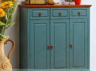 特价可定制 美式乡村储物柜 地中海做旧角柜 欧式玄关桌 实木家具,收纳柜,
