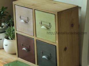 Fan's zakka杂货原木旧木制仿古铁皮彩色四抽屉收纳盒 收纳小柜,收纳柜,