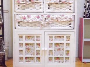 韩式田园床头柜白色电视柜收纳柜储存柜柜子柳编环保家具田园,收纳柜,