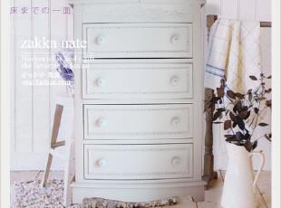 zakka杂货 复古白色超做旧四斗柜 欧式田园雕花柜子 收纳柜美呆了,收纳柜,