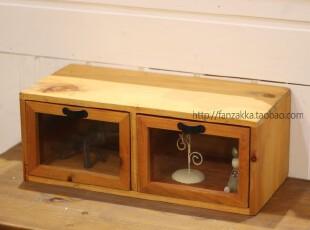 Fan's zakka杂货 原木实木左右屉收纳小柜 木柜,收纳柜,