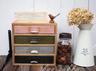 BAO ZAKKA 杂货 原木 仿古铁皮彩色 扁形四抽屉收纳小柜,收纳柜,