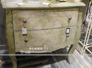 可立特 家居 饰品DE6072美式乡村风做旧杉木两抽柜 床头柜满即折,收纳柜,