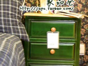 比邻乡村床头柜 实木床头柜 乡村风格 实木家具 预订,收纳柜,