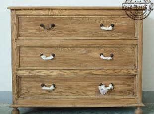 法式乡村家具 木色仿古做旧三斗柜抽屉柜M027,收纳柜,