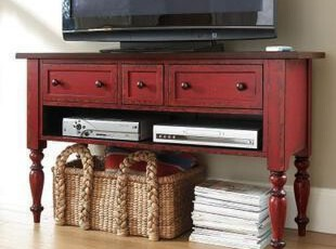 地中海家具定制 红色做旧实木电视柜 玄关 实木边桌,收纳柜,